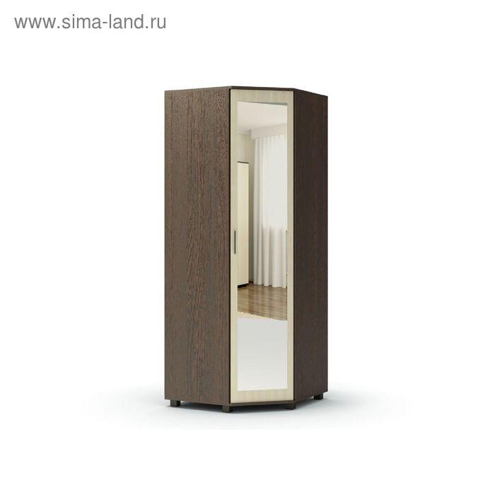 Шкаф угловой с зеркалом МАКСИМ 860х860х2100  венге/дуб млечный
