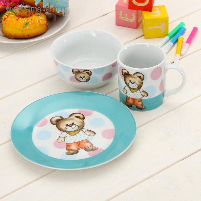 """Набор детской посуды """"Мишка и горох"""", 3 предмета: кружка 200 мл, миска 300 мл, тарелка 175 мм"""