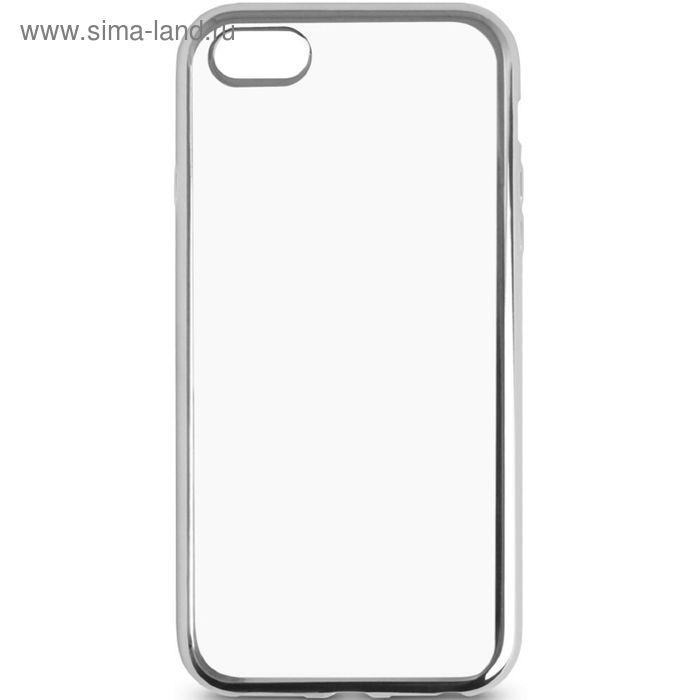 Чехол-крышка DF iCase-02 для iPhone 6/6S silver силиконовый с серебряной рамкой