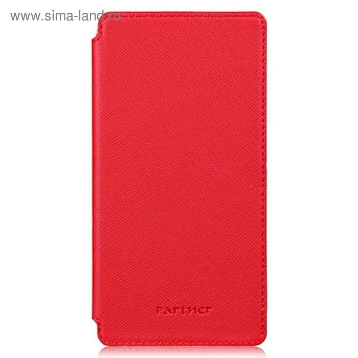 """Чехол Partner Book-case 5,0"""", красный  (размер 7.2*14.1 см)"""