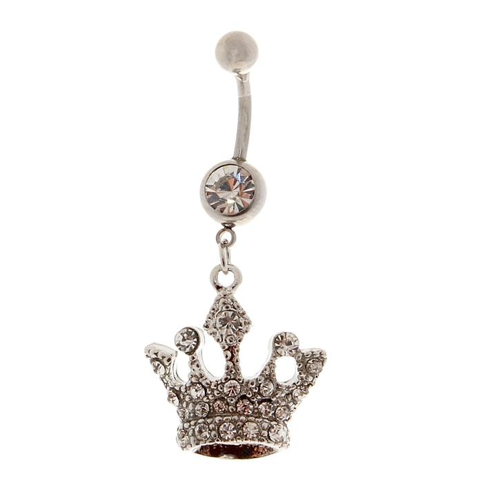 """Пирсинг в пупок """"Корона"""", цвет белый в серебре, фасовка 6 шт"""