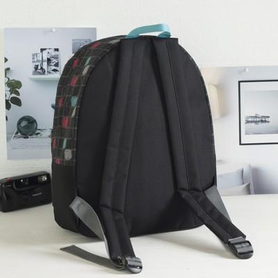 """Рюкзак молодёжный на молнии """"Цветные квадратики"""", 1 отдел, 1 наружный карман, чёрный"""