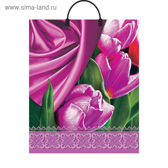 """Пакет """"Розовое кружево"""", полиэтиленовый с пластиковой ручкой, 40х44 см, 100 мкм"""