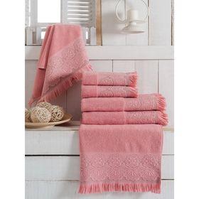 Полотенце махровое банное VEVIEN ZARA, размер 70х140 см, цвет розовый, хлопок 500 г/м2