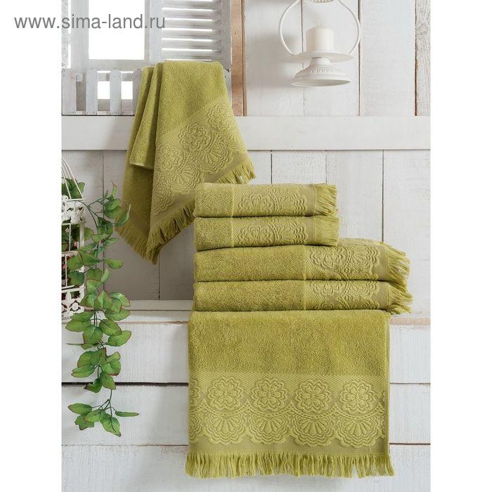Полотенце махровое VEVIEN ZARA, размер 50х90 см, цвет зелёный, хлопок 500 г/м2