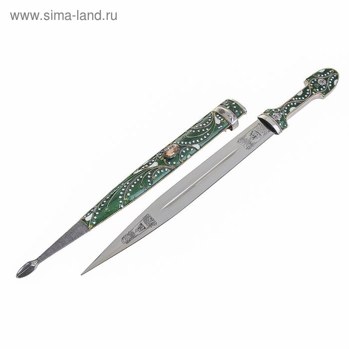 """Сувенирное изделие """"Кинжал"""" филигрань 530 мм зеленый"""