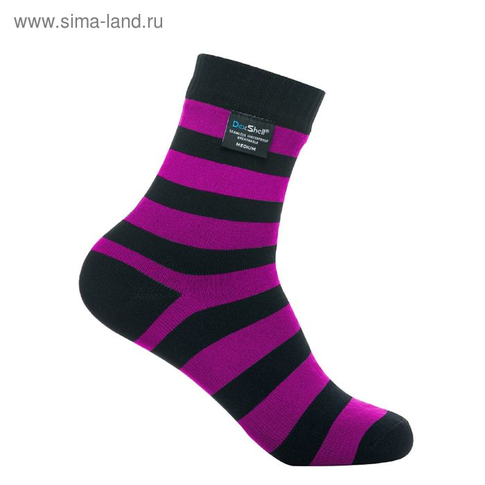 Носки водонепроницаемые M Dexshell Ultralite Bamboo Black pink stripe DS643P