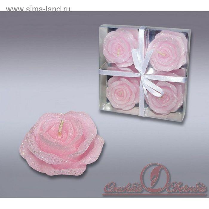 Набор свечей розочки розовые