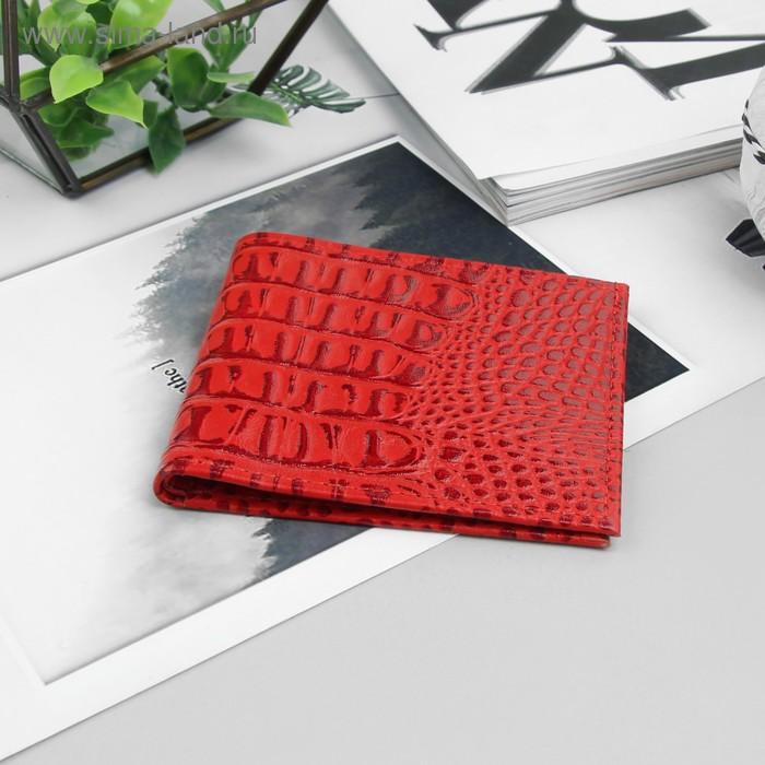 Кошелёк женский складной, 1 отдел для купюр, красный крокодил