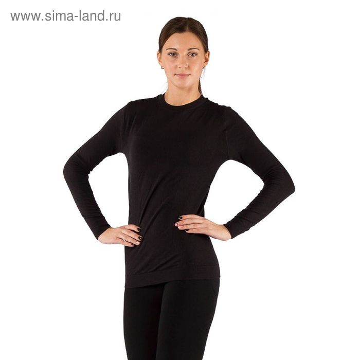 Футболка женская Vali с длинным рукавом, комбинированный материал 290 г/м2, цвет чёрный, L-XL