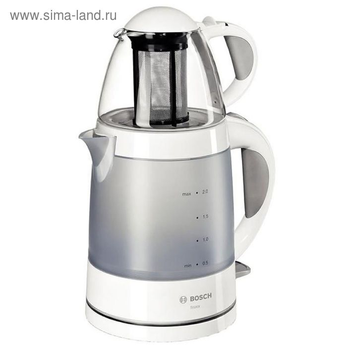 Чайник электрический Bosch TTA2201, 1785 Вт, 2 л, заварочный чайник, белый