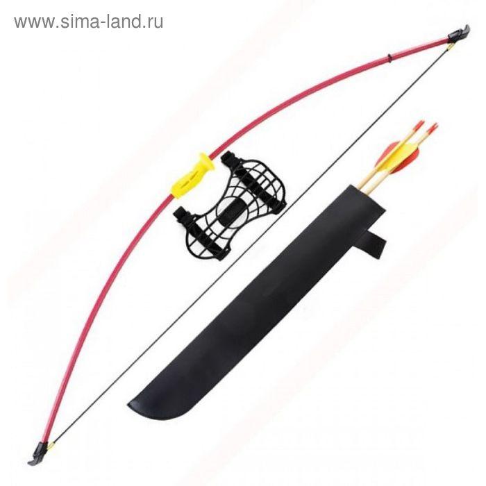 Лук детский классический красный 7кг, 130см (колчан, 2 стрелы, крага, мишень)