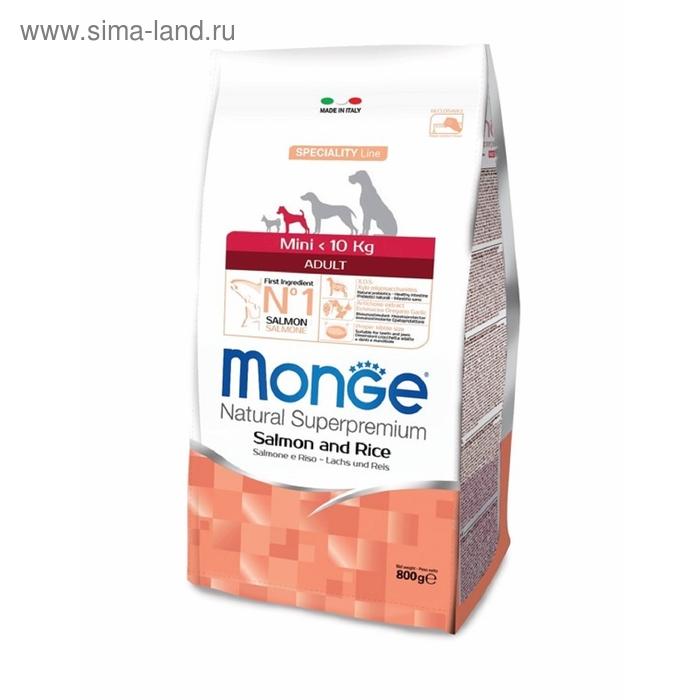 Сухой корм Monge Dog Speciality Mini для собак мелких пород, лосось с рисом, 800 г   158495