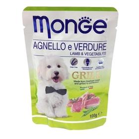 Влажный корм Monge Dog Grill Pouch для собак, ягненок с овощами, пауч, 100 г