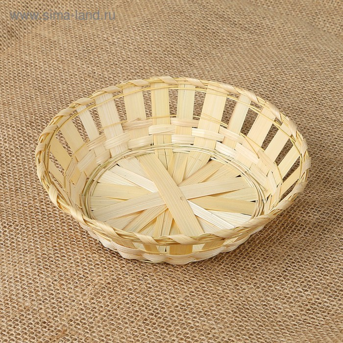Фруктовница круглая, редкое плетение, бамбук (D16*Н4),832101