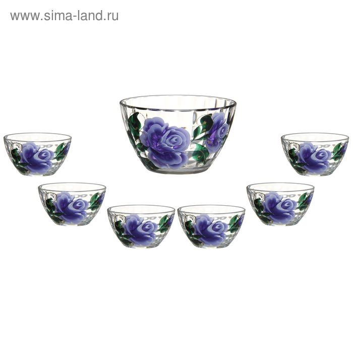 """Набор салатников """"Яркие тюльпаны"""", 7 предметов: 1 большой 1,5 л, 6 малых 250 мл"""