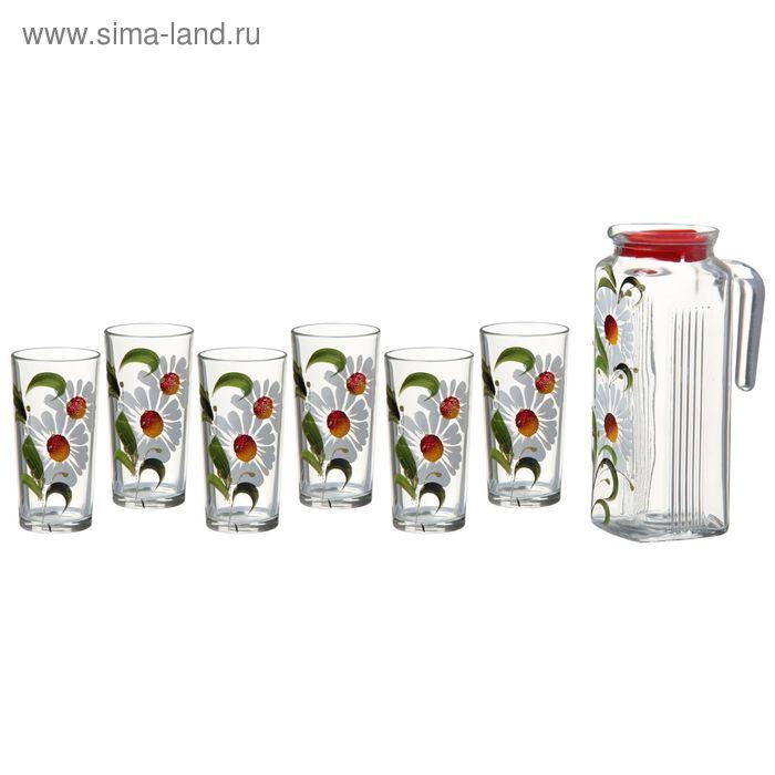 """Набор питьевой """"Летние ромашки"""", 7 предметов: кувшин 1 л с пластиковой крышкой, 6 стаканов 200 мл, деколь"""