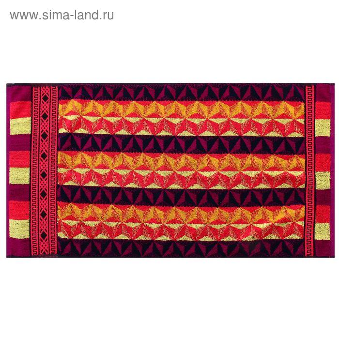 Полотенце махровое пестротканное, зиг-заг жёлтый, размер 47х90 см, хлопок 420 г/м2