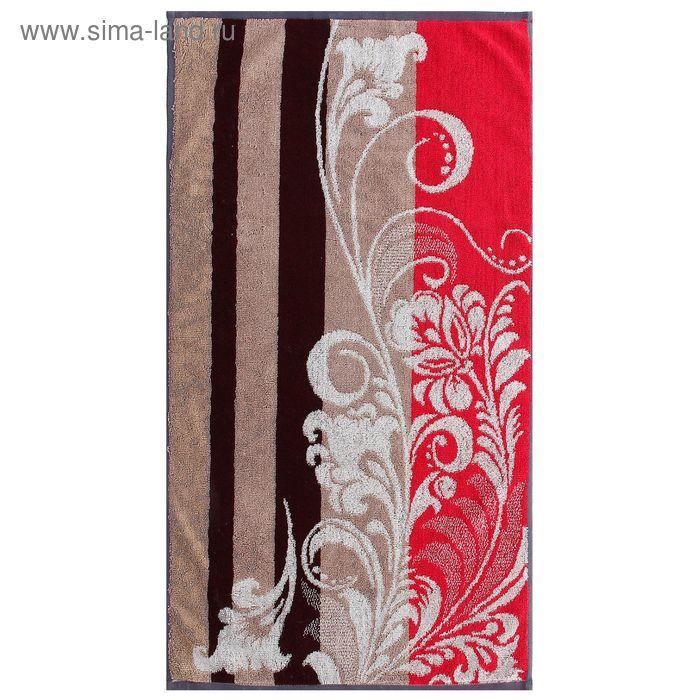 Полотенце махровое пестротканное, вензель коричневый, размер 47х90 см, хлопок 420 г/м2