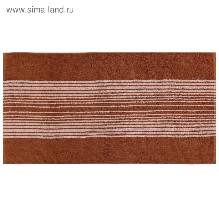 Полотенце махровое пестротканное, полосы коричневые, размер 30х70 см, хлопок 340 г/м2