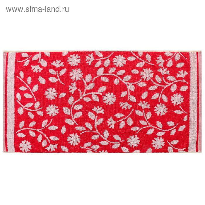 Полотенце махровое пестротканное, красные цветы, размер 47х90 см, хлопок 340 г/м2