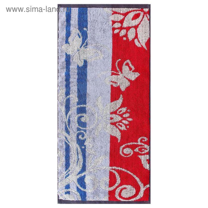 Полотенце махровое пестротканное, вензель синий, размер 30х70 см, хлопок 420 г/м2