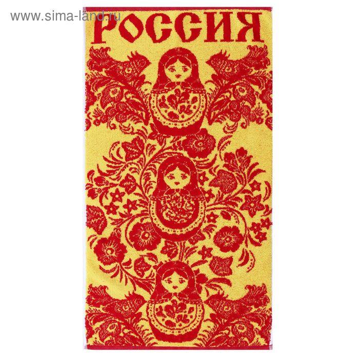 Полотенце махровое пестротканное, матрешка красная, размер 50х90 см, хлопок 460 г/м2