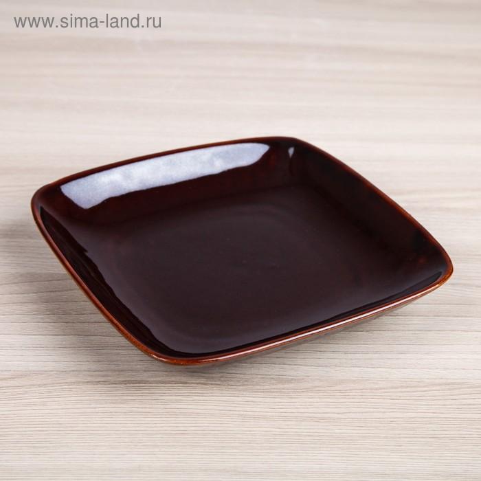 """Тарелка """"Квадрат"""" коричневая"""