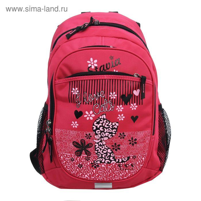"""Рюкзак молодёжный на молнии """"I love cats"""", 2 отдела, 3 наружных кармана, розовый"""