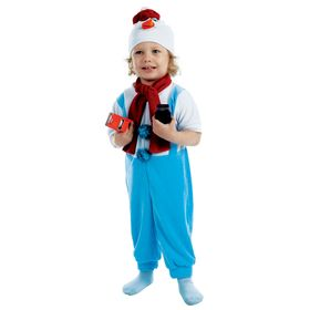 """Детский карнавальный костюм """"Снеговик в штанишках"""", велюр, 3 предмета: комбинезон, шарф, шапка, рост 98 см"""