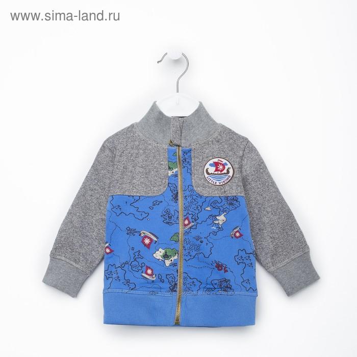 Джемпер (толстовка) для мальчика, рост 80 см (48), цвет синий/серый (арт. ZBB 08024-BGG_М)