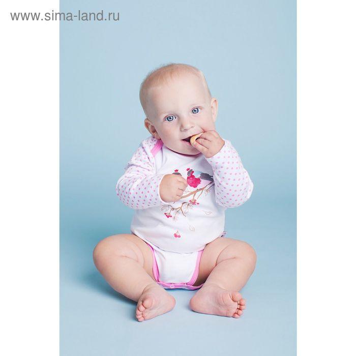 Боди с длинными рукавами для девочки, рост 74 см (44), цвет белый, принт горох (арт. ZBB 13366-W_М)