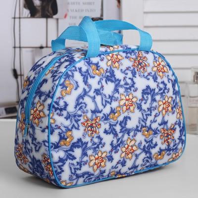"Косметичка-сумочка на молнии ""Цветы"", 1 отдел, 2 ручки, цвет синий"
