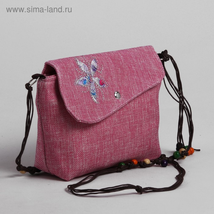 """Сумка детская на магните """"Цветок"""", 1 отдел, длинный ремень, цвет розовый"""