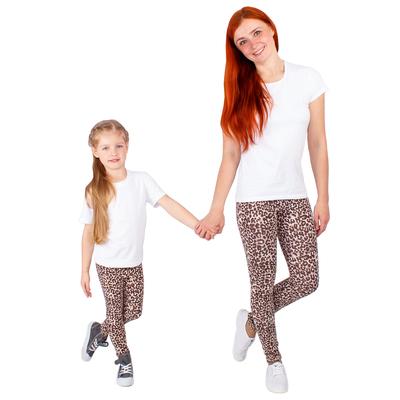 """Легинсы для девочки """"Волшебная радуга"""", рост 104 см (54), цвет коричневый, принт леопард ДРЛ894804н"""