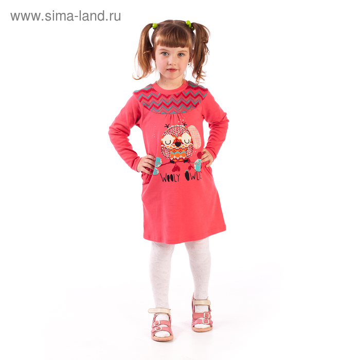 """Платье для девочки """"Весёлые совы"""", рост 110 см (56), цвет коралловый, принт орнамент (арт. ДПД414067н_Д)"""