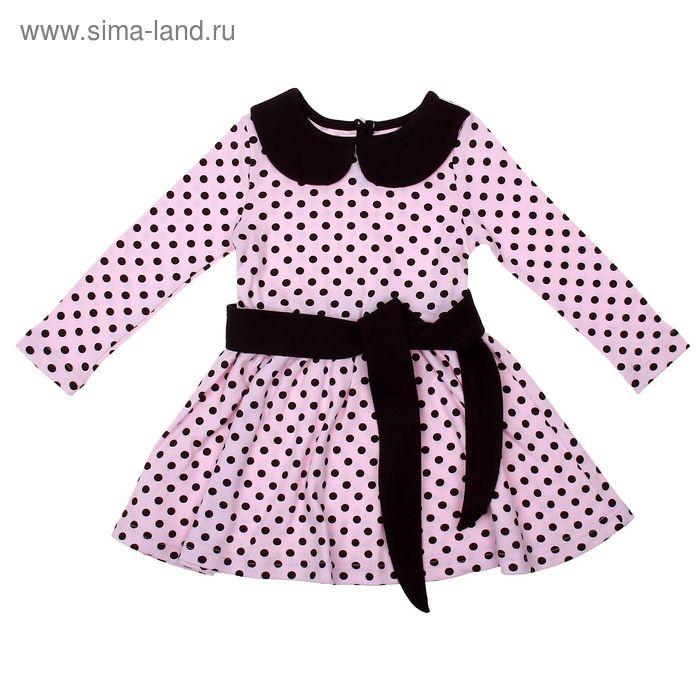 """Платье для девочки """"Осенний блюз"""", рост 134 см (68), цвет шоколадный/розовый, принт горошек (арт. ДПД8540)"""