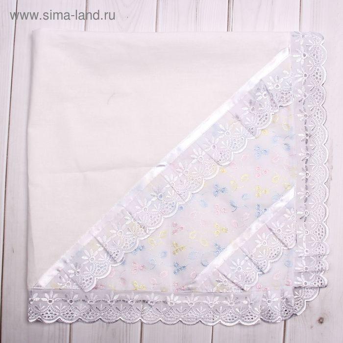 Пеленка-уголок, размер 75*75 см, цвет белый/триколор 05-102/1Н