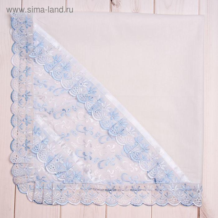 Пеленка-уголок, размер 75*75 см, цвет белый/голубой 05-102/1Н