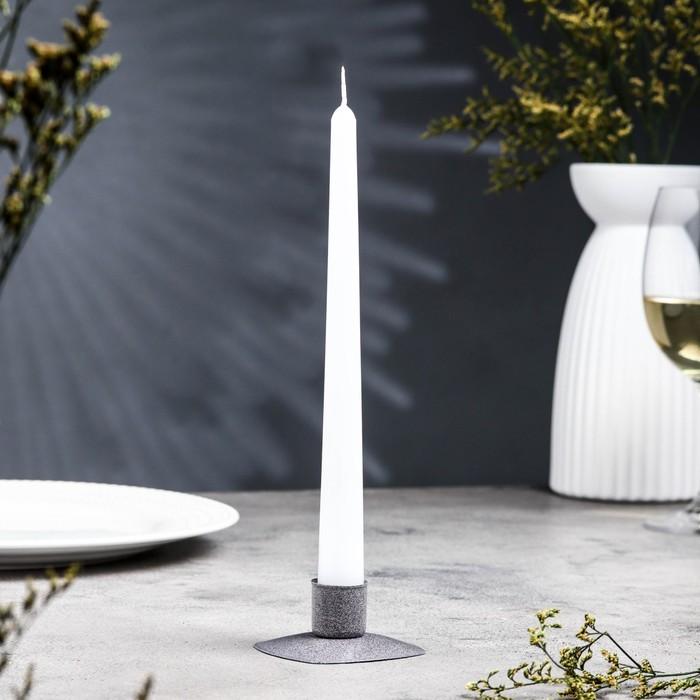 Подсвечник квадрат серый