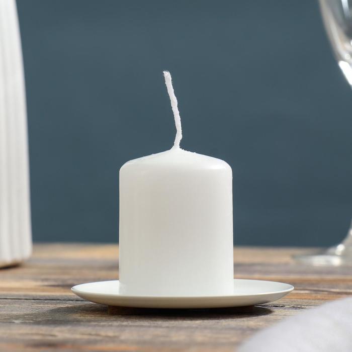 Подсвечник тарелка 76 белый