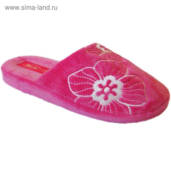 """Тапочки женские закрытые """"Комфорт"""", размер 36-40, цвет коричневый/розовый/чёрный 135-1016-1   159701"""