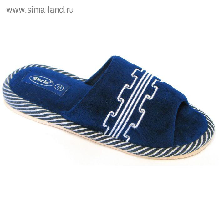 """Тапочки женские открытые """"Классика"""", размер 36-40, цвет синий/чёрный/голубой 125-4039 Н"""