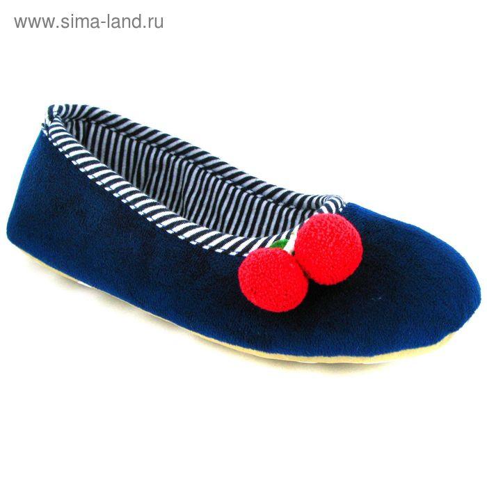 Тапочки женские (балетки), размер 36-40, цвет синий/чёрный/красный 135-4110 Б