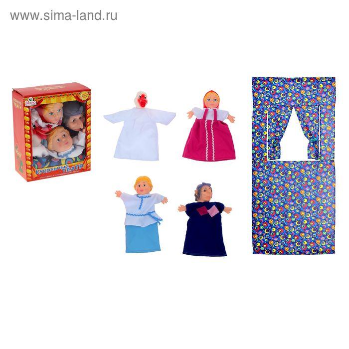Кукольный театр, 4 персонажа с ширмой №4