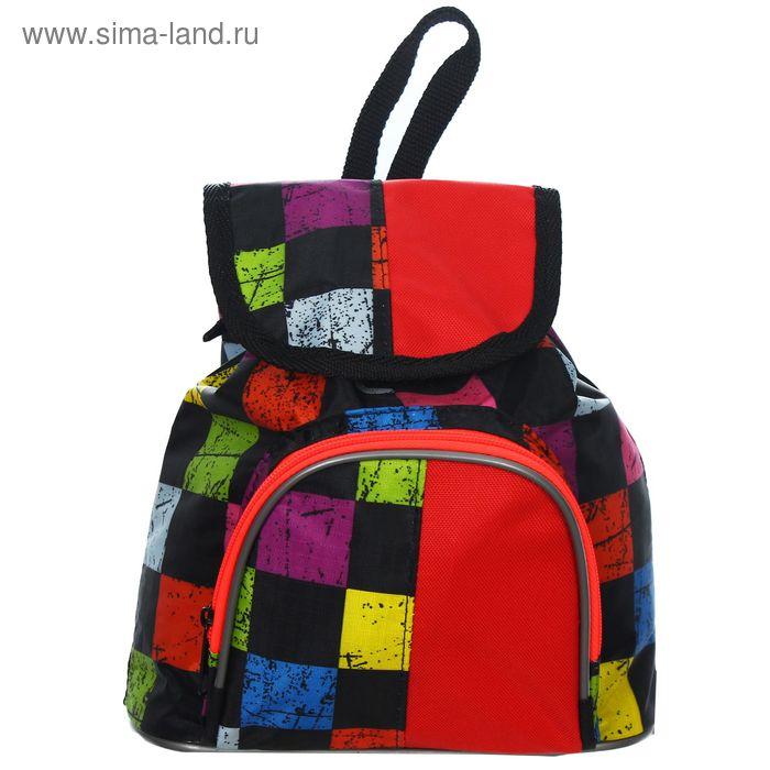 """Рюкзак детский на стяжке шнурком """"Разноцветная клетка"""", 1 отдел, 1 наружный карман, МИКС"""