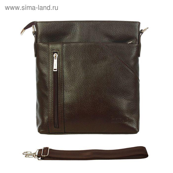 Планшет мужской на молнии, 1 отдел, 2 наружных кармана, регулируемый ремень, коричневый