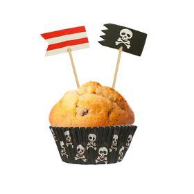 """Украшения для кексов """"С Днём рождения"""", пират, набор: формочки 24 шт., шпажки 24 шт."""
