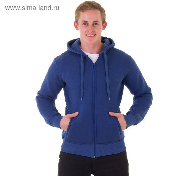 Джемпер-толстовка мужской с капюшоном на молнии арт.935, цвет джинс, р-р L