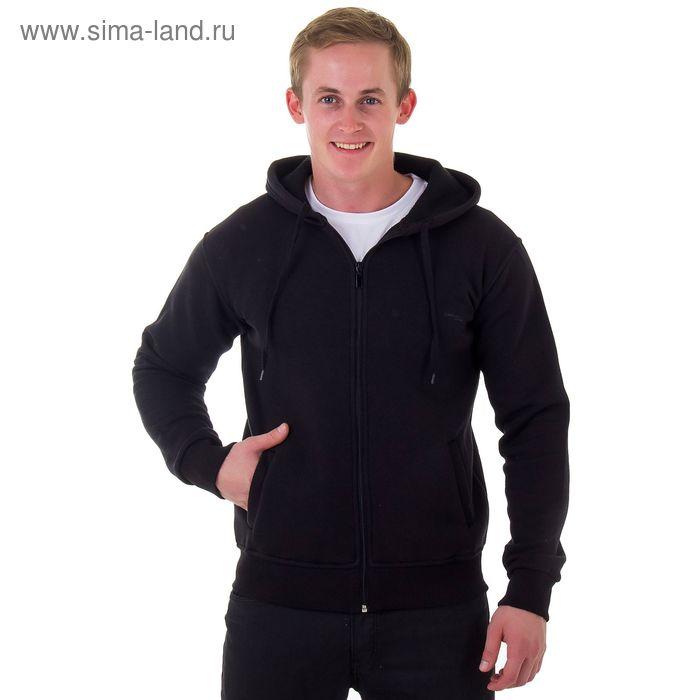Джемпер-толстовка мужской с капюшоном на молнии арт.935, цвет чёрный, р-р 3XL